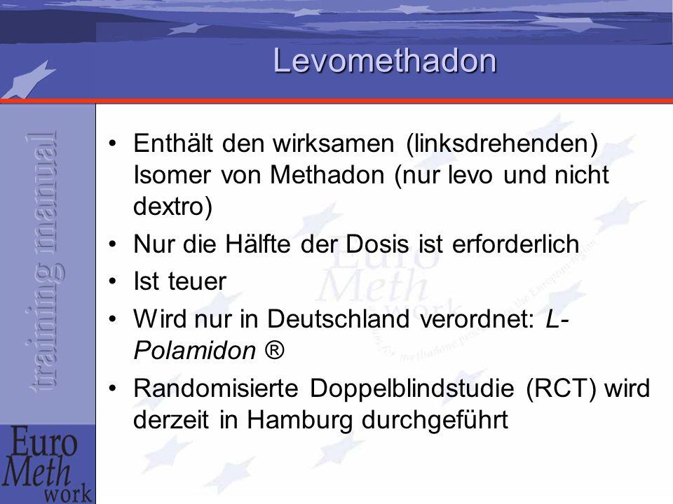 Levomethadon Enthält den wirksamen (linksdrehenden) Isomer von Methadon (nur levo und nicht dextro)