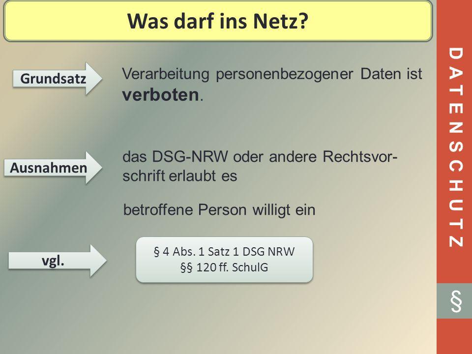 Was darf ins Netz § DATENSCHUTZ