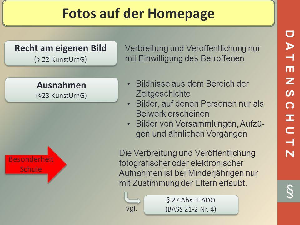Fotos auf der Homepage § DATENSCHUTZ Recht am eigenen Bild Ausnahmen