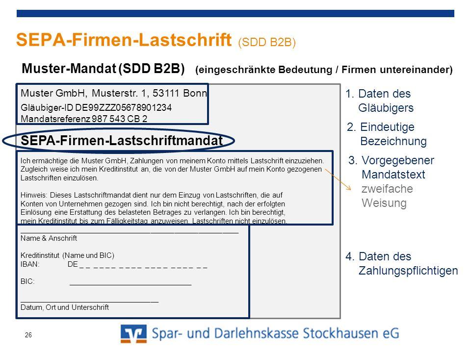SEPA-Firmen-Lastschrift (SDD B2B)
