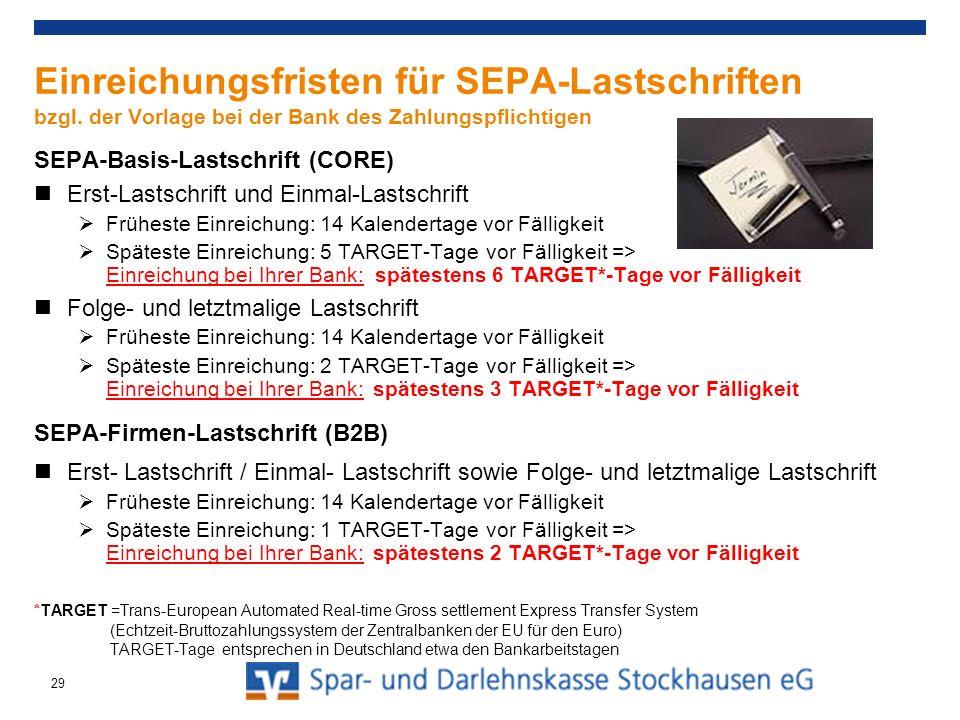 Einreichungsfristen für SEPA-Lastschriften bzgl