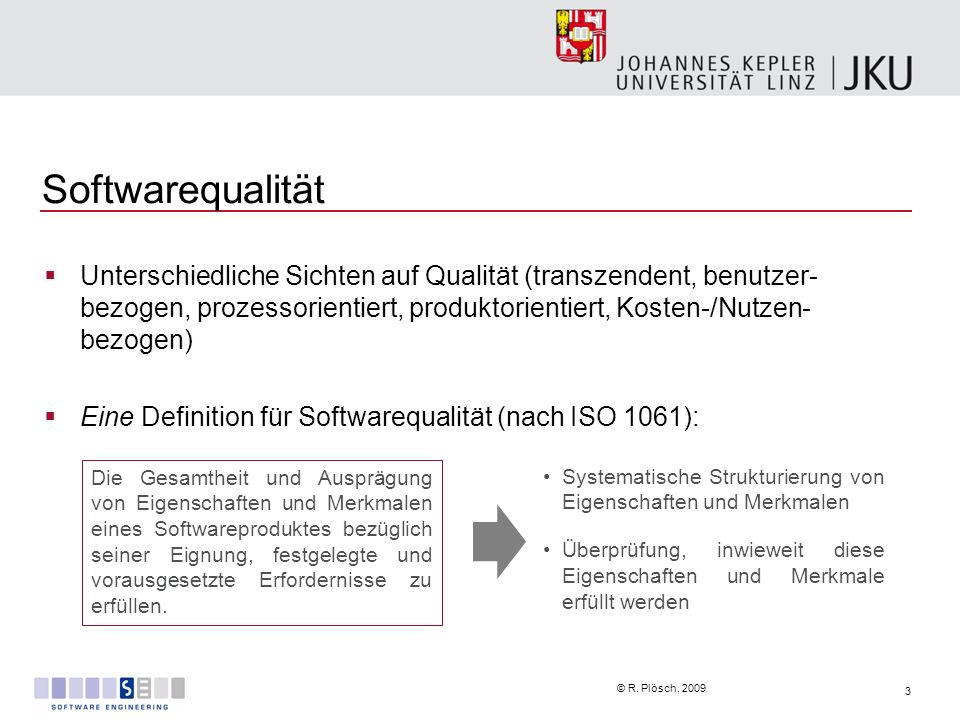 Softwarequalität Unterschiedliche Sichten auf Qualität (transzendent, benutzer-bezogen, prozessorientiert, produktorientiert, Kosten-/Nutzen-bezogen)