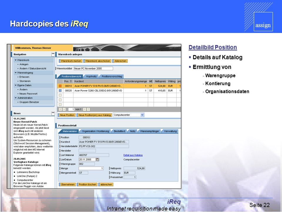 Hardcopies des iReq iReq Intranet requisition made easy