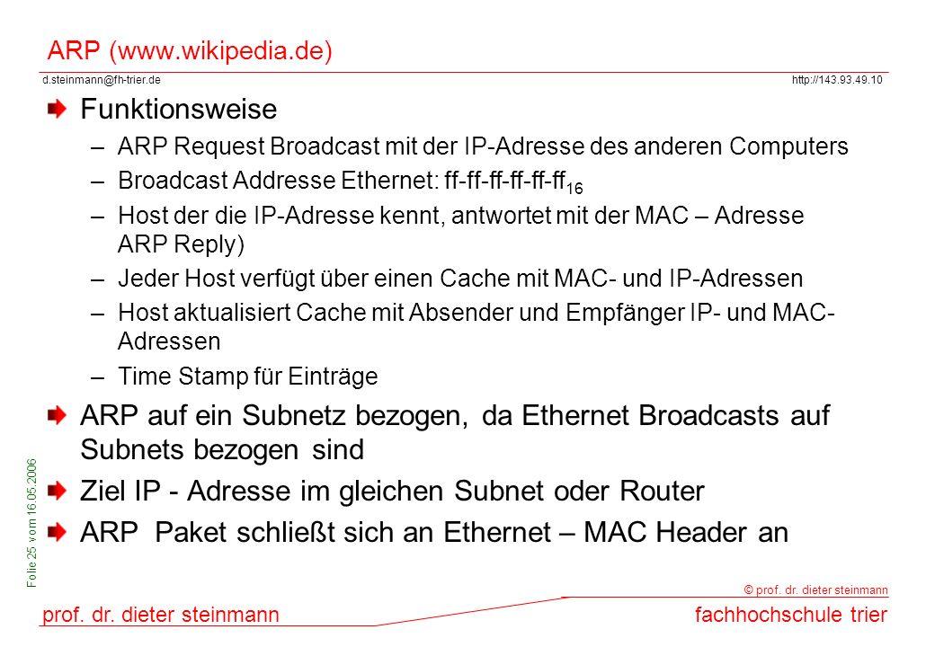 Ziel IP - Adresse im gleichen Subnet oder Router