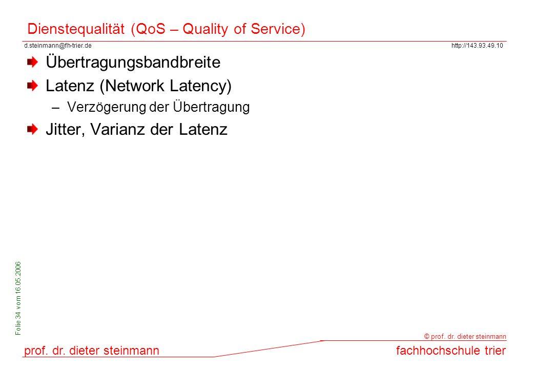 Dienstequalität (QoS – Quality of Service)