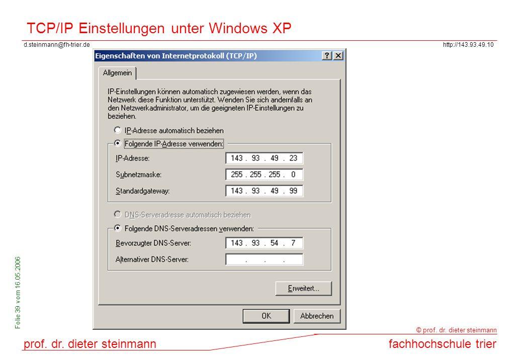 TCP/IP Einstellungen unter Windows XP