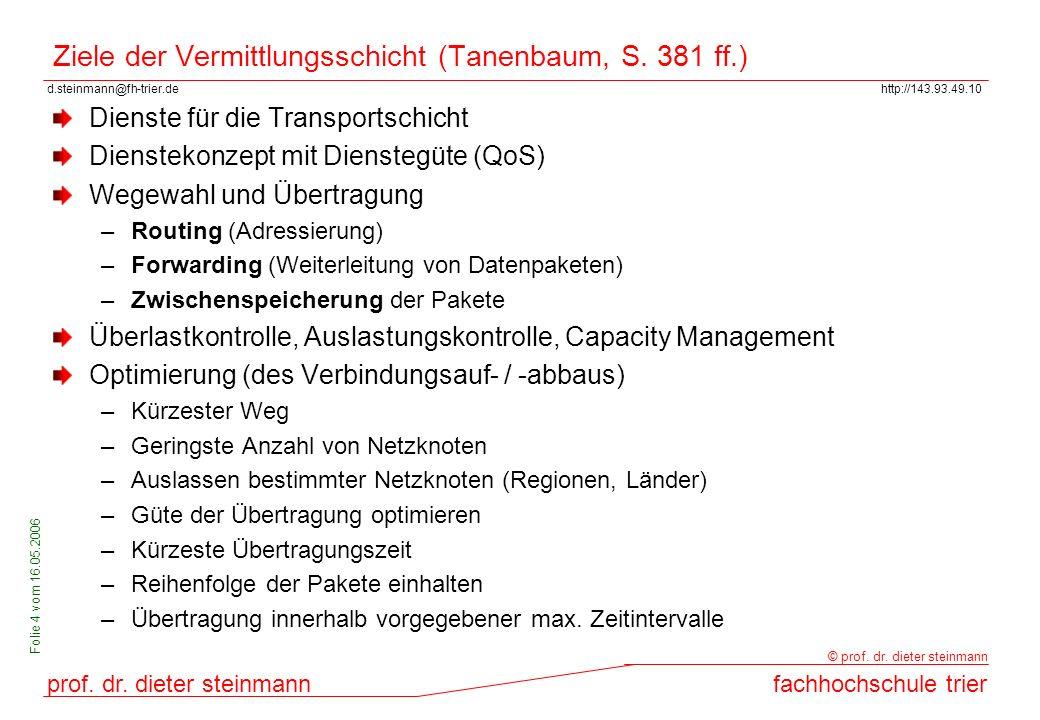 Ziele der Vermittlungsschicht (Tanenbaum, S. 381 ff.)