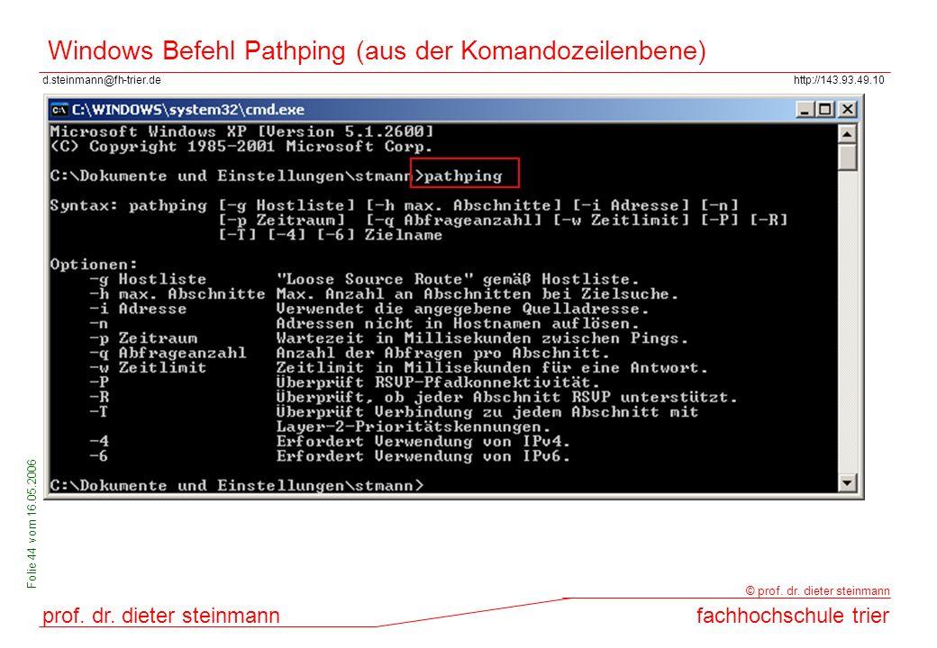 Windows Befehl Pathping (aus der Komandozeilenbene)
