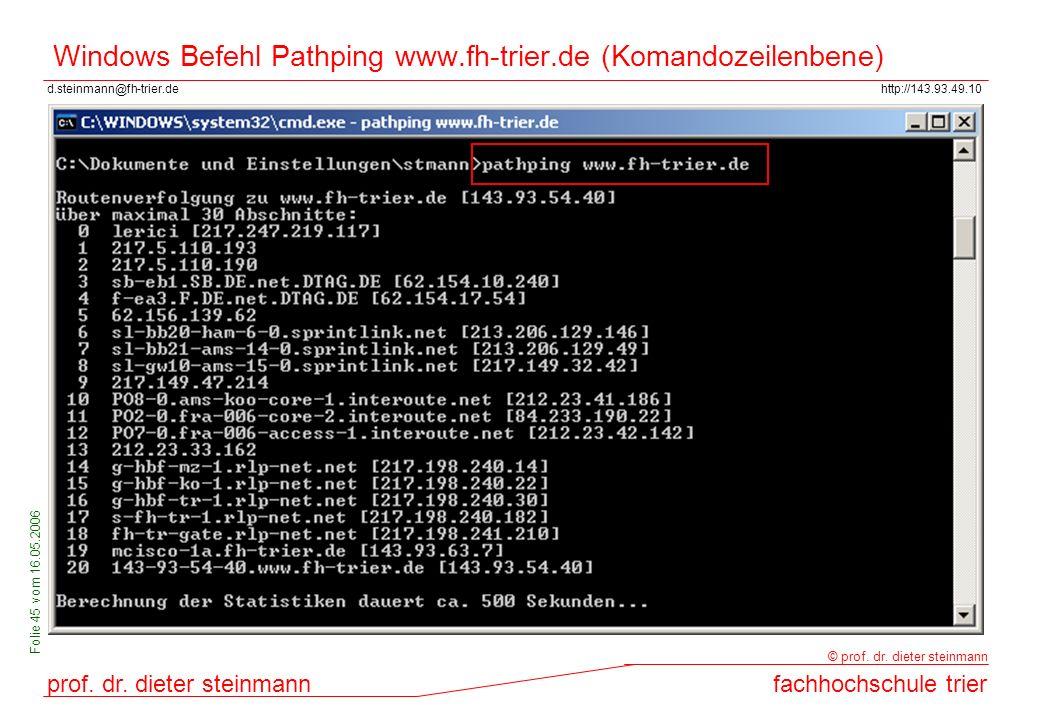 Windows Befehl Pathping www.fh-trier.de (Komandozeilenbene)