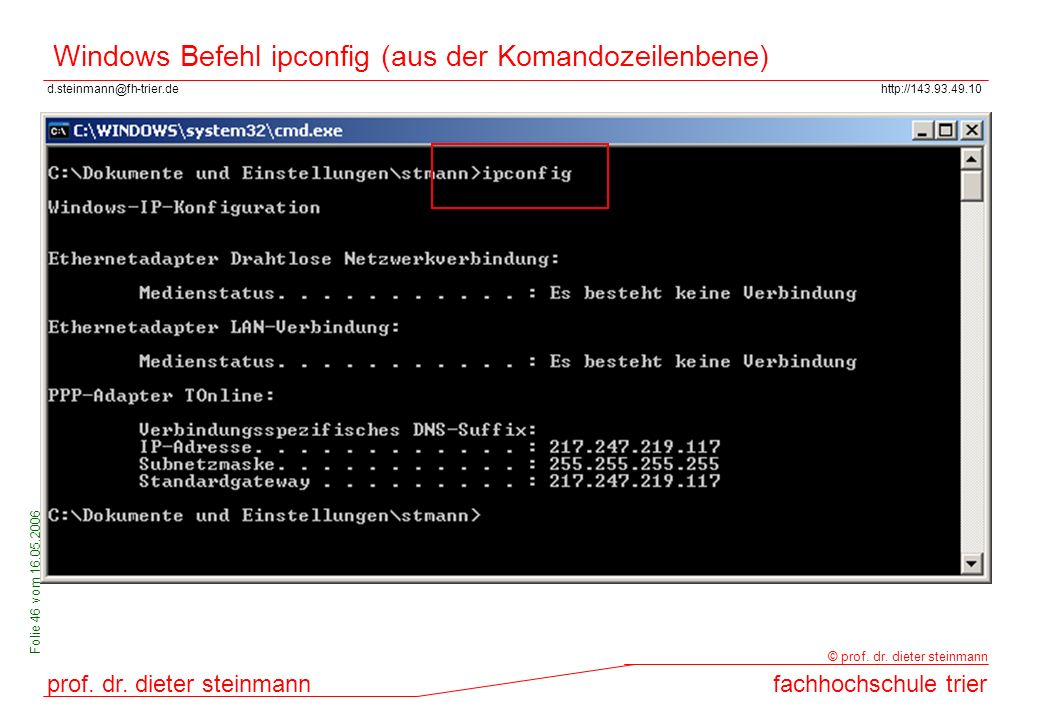 Windows Befehl ipconfig (aus der Komandozeilenbene)