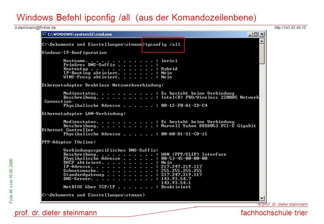 Windows Befehl ipconfig /all (aus der Komandozeilenbene)