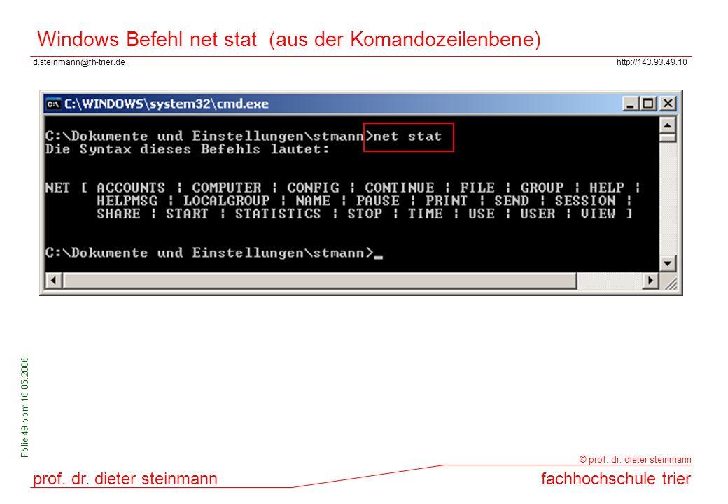 Windows Befehl net stat (aus der Komandozeilenbene)