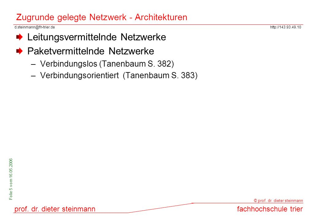 Zugrunde gelegte Netzwerk - Architekturen