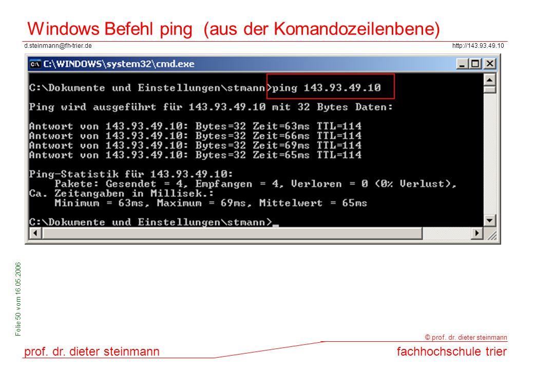 Windows Befehl ping (aus der Komandozeilenbene)
