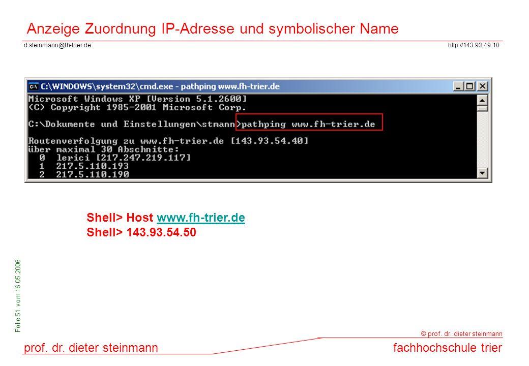 Anzeige Zuordnung IP-Adresse und symbolischer Name