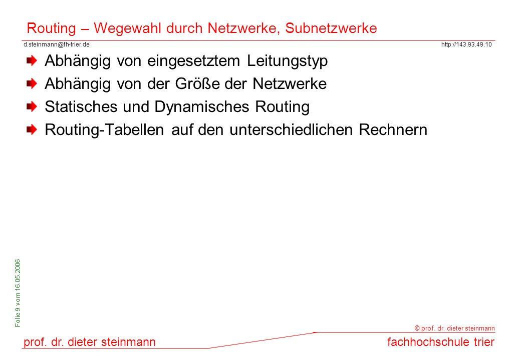 Routing – Wegewahl durch Netzwerke, Subnetzwerke