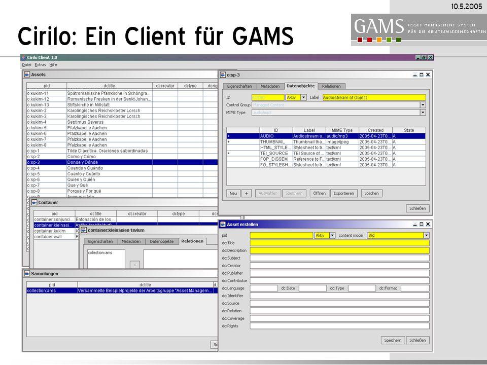 Cirilo: Ein Client für GAMS