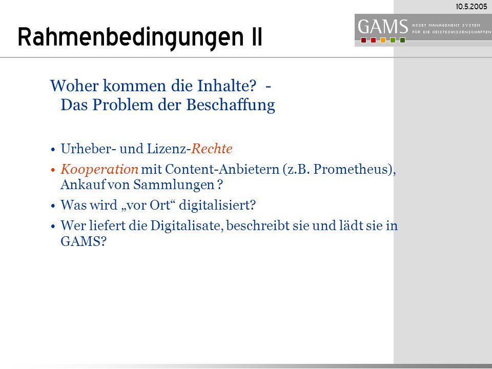 Rahmenbedingungen II Woher kommen die Inhalte - Das Problem der Beschaffung. Urheber- und Lizenz-Rechte.