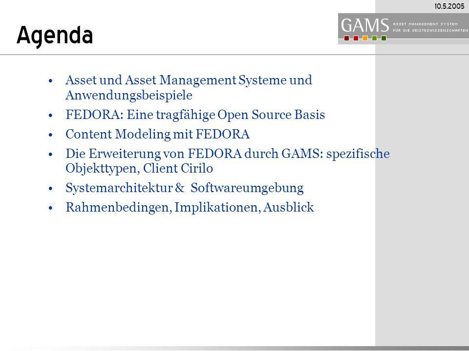 Agenda Asset und Asset Management Systeme und Anwendungsbeispiele