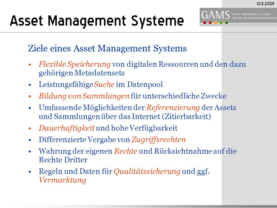Asset Management Systeme