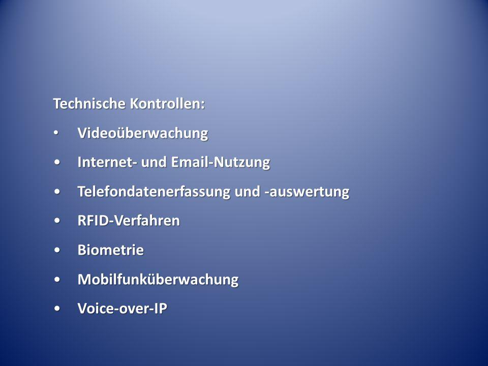 Technische Kontrollen: