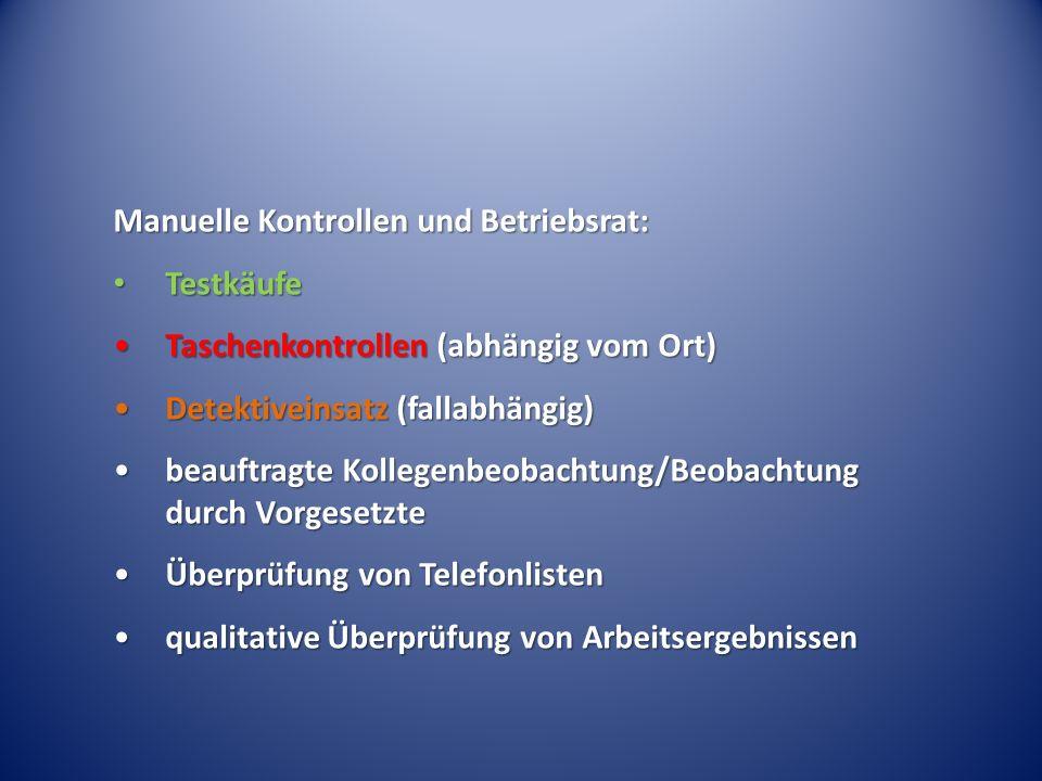 Manuelle Kontrollen und Betriebsrat: