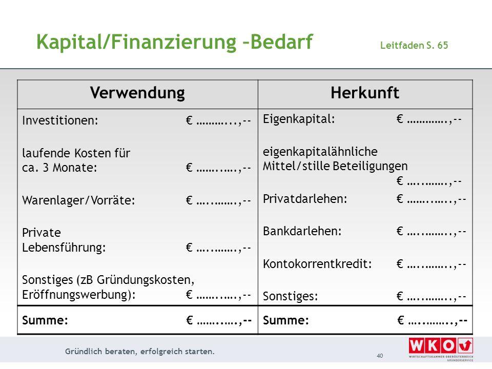 Kapital/Finanzierung –Bedarf Leitfaden S. 65