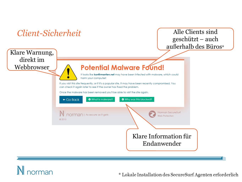 Client-Sicherheit Alle Clients sind geschützt – auch außerhalb des Büros* Klare Warnung, direkt im Webbrowser.