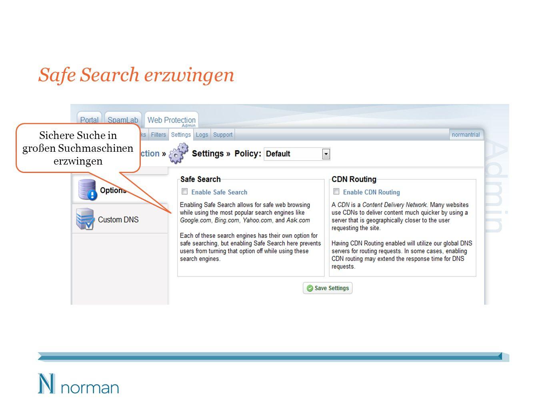 Sichere Suche in großen Suchmaschinen erzwingen