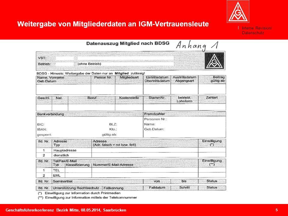Weitergabe von Mitgliederdaten an IGM-Vertrauensleute