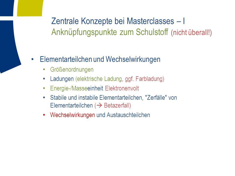 Zentrale Konzepte bei Masterclasses – I Anknüpfungspunkte zum Schulstoff (nicht überall!)