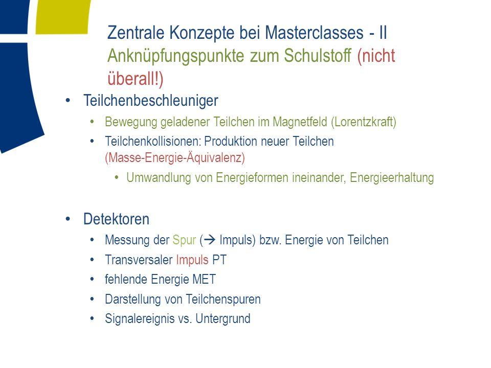 Zentrale Konzepte bei Masterclasses - II Anknüpfungspunkte zum Schulstoff (nicht überall!)