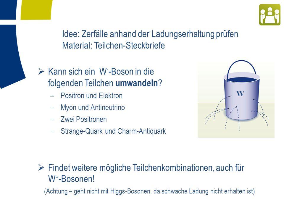 Idee: Zerfälle anhand der Ladungserhaltung prüfen Material: Teilchen-Steckbriefe