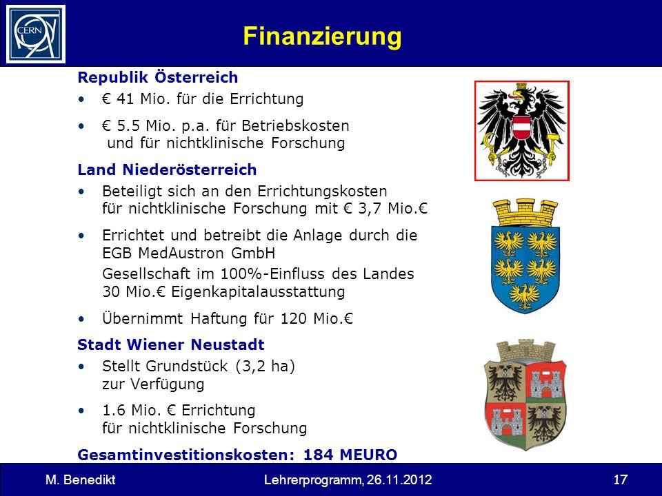 Finanzierung Republik Österreich € 41 Mio. für die Errichtung