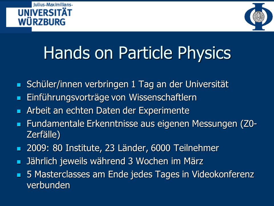 Hands on Particle Physics