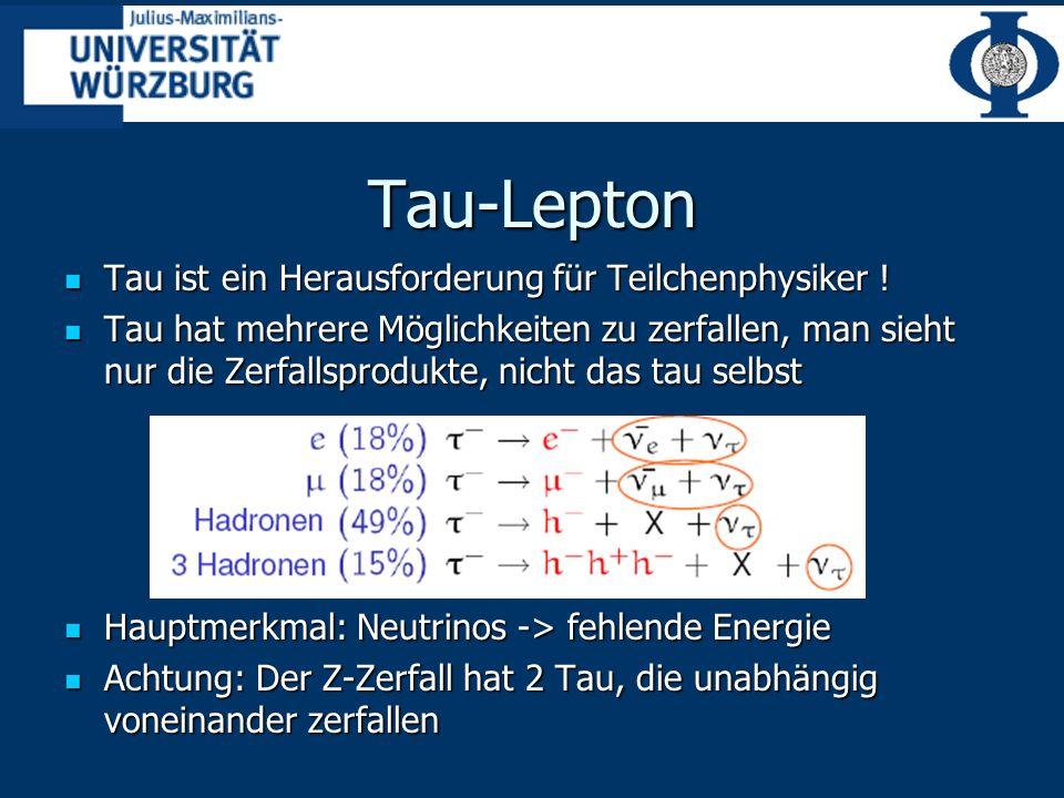 Tau-Lepton Tau ist ein Herausforderung für Teilchenphysiker !