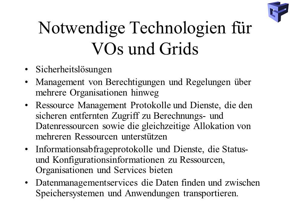 Notwendige Technologien für VOs und Grids