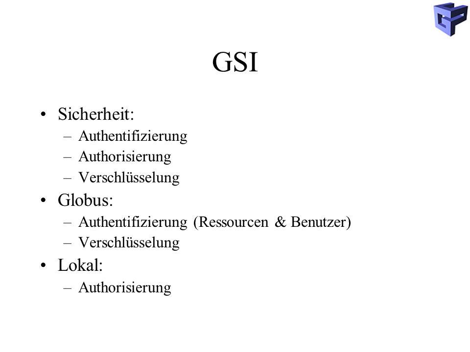 GSI Sicherheit: Globus: Lokal: Authentifizierung Authorisierung