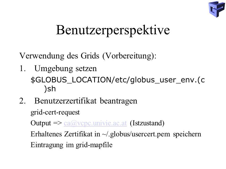 Benutzerperspektive Verwendung des Grids (Vorbereitung):