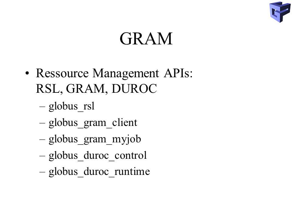 GRAM Ressource Management APIs: RSL, GRAM, DUROC globus_rsl