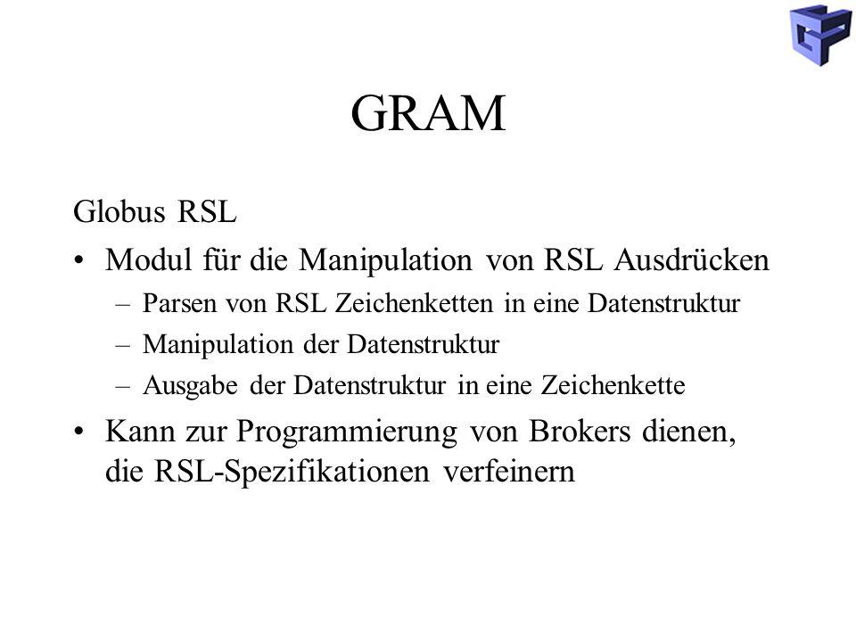 GRAM Globus RSL Modul für die Manipulation von RSL Ausdrücken