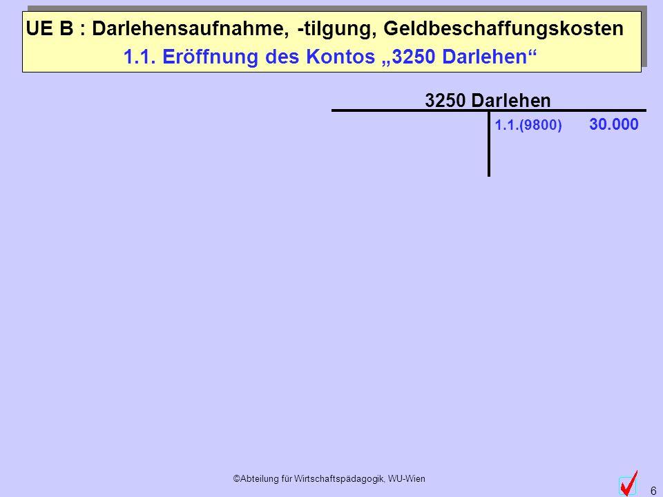 """1.1. Eröffnung des Kontos """"3250 Darlehen"""