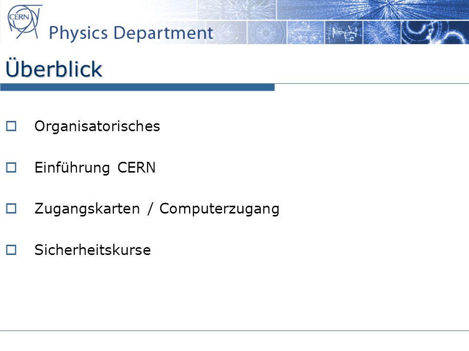 Überblick Organisatorisches Einführung CERN