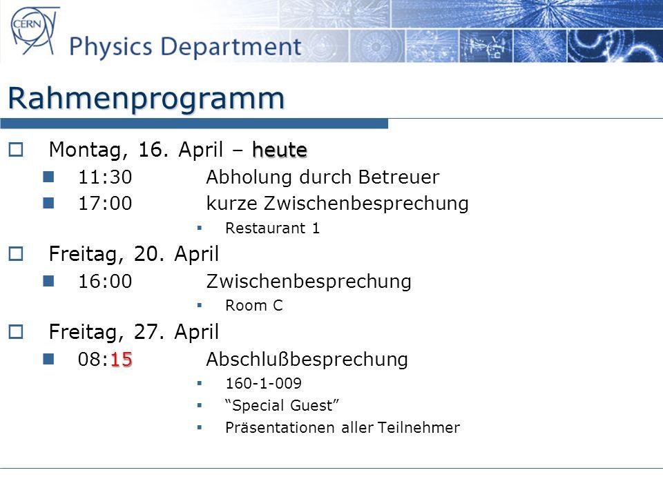 Rahmenprogramm Montag, 16. April – heute Freitag, 20. April