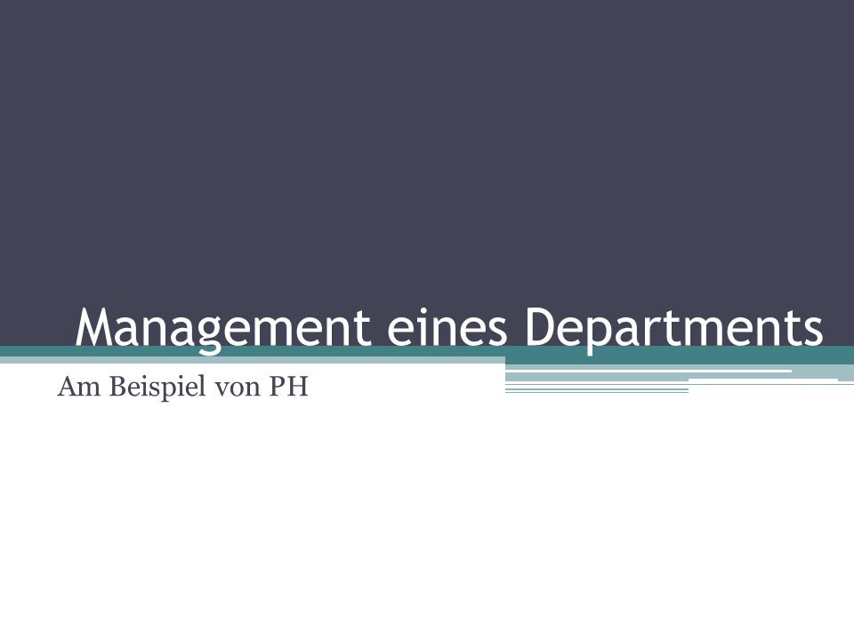 Management eines Departments