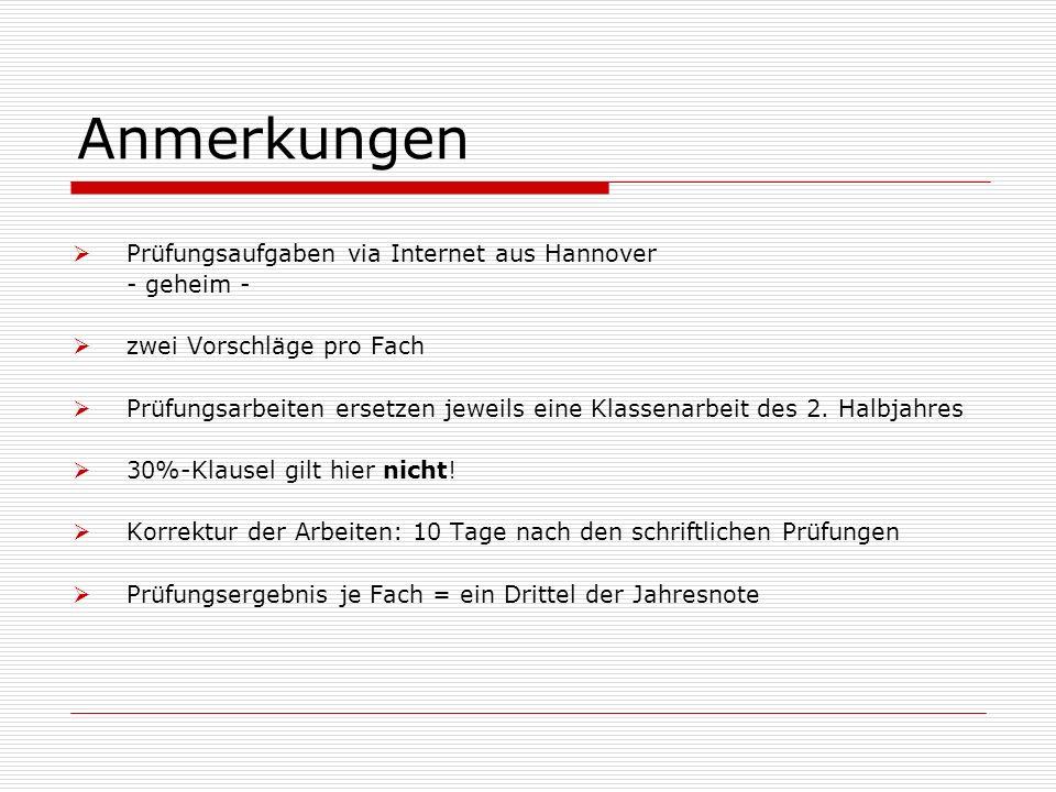 Anmerkungen Prüfungsaufgaben via Internet aus Hannover - geheim -