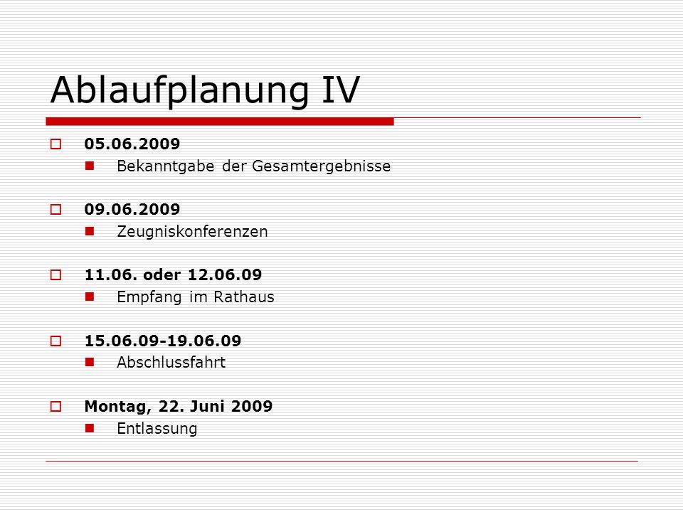 Ablaufplanung IV 05.06.2009 Bekanntgabe der Gesamtergebnisse