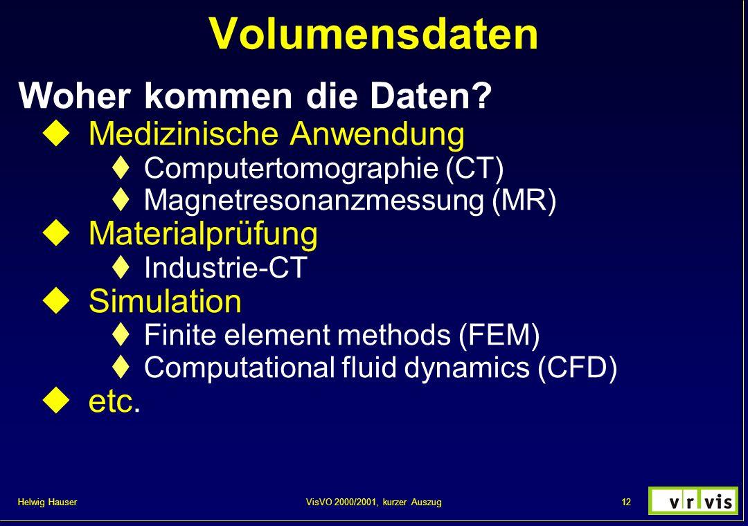 Volumensdaten Woher kommen die Daten Medizinische Anwendung