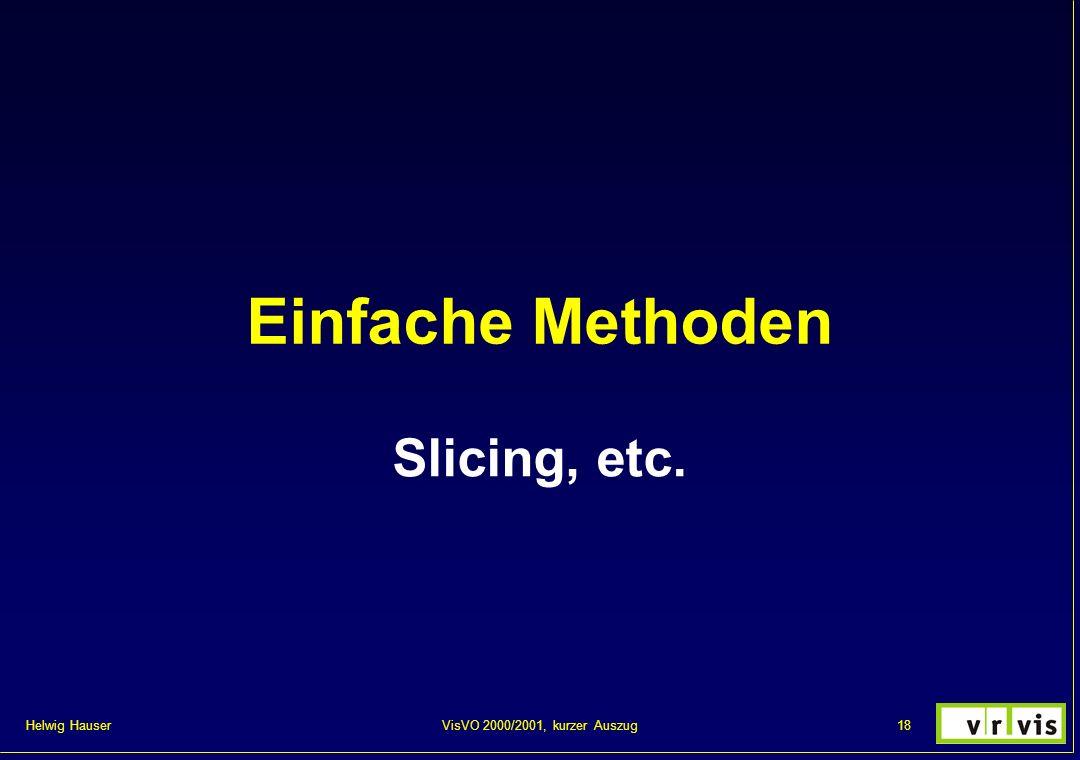Einfache Methoden Slicing, etc. VisVO 2000/2001, kurzer Auszug