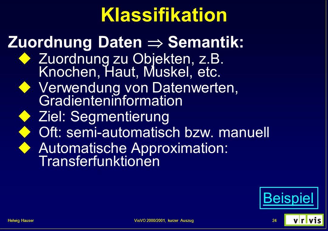 Klassifikation Zuordnung Daten  Semantik: